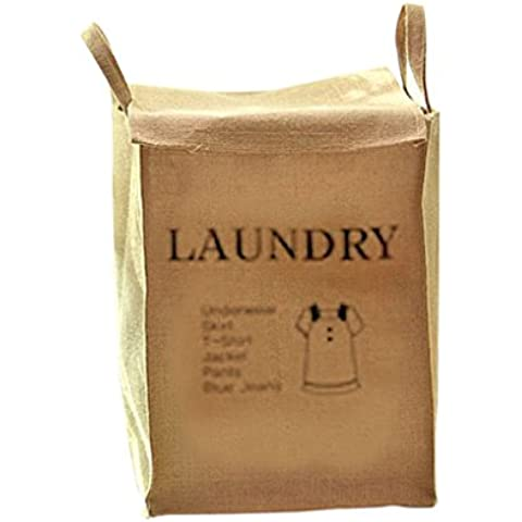 QHGstore Algodón y ropa de lavandería cesta de almacenamiento envase de la caja misceláneas del organizador Camiseta de las