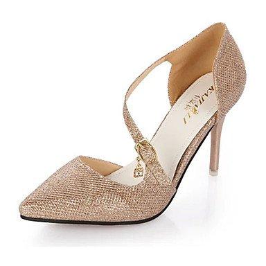 Moda Donna Sandali Sexy donna tacchi tacchi estate pu Casual Stiletto Heel fibbia rosa / argento / Oro Altri golden