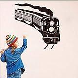 Mrhxly Läuft Gebogene Dampfzug Wandaufkleber Vinyl Selbstklebende Transport Wandbild Kinder Schlafzimmer Kopfteil Wohnkultur 61 * 58 Cm