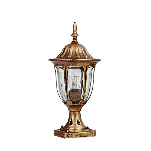 ♪ lampada da post classica classica in alluminio chiaro con paralume trasparente illuminazione pathway comunità decorativa navetta park shop ingresso pilastro e27 (dimensioni: altezza 36cm) ♪