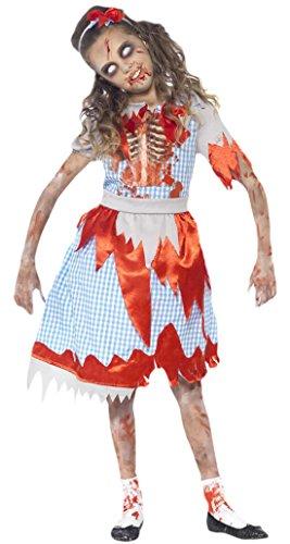 Karnevalsbud - Mädchen Karneval Halloween Kostüm Zombie Country Girl , Mehrfarbig, 122-134, 7-9 Jahre (Abraham The Walking Dead Kostüm)