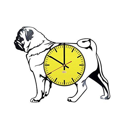 RomanticStuffStore Modernes Design Vinyl Schallplatte Wanduhr-Get Einzigartige Kids Raum Wand Decor-Geschenk Ideen für Geschwister, Erwachsene-Mops Hund Einzigartige Modern Art