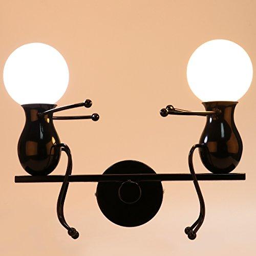 KAWELL Humanoid Kreative Wandleuchte Moderne Wandlampe LED Einfache Kerze Wandleuchte Art Deco Max 60W E27 Basis Eisen Halter für Schlafzimmer, Wohnzimmer, Bett, Treppe, Flur, Restaurant, Küche, Schwarz