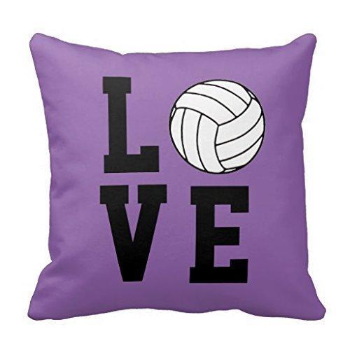 DEFFWBb KarilShop Volleyball Love Customizable Linen Throw Pillow Case Cushion Cover Home Sofa Decorative 18 X 18