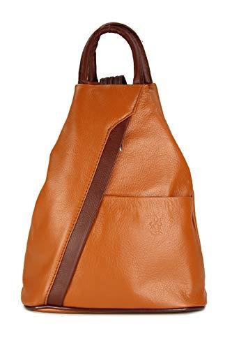 Belli 'City Backpack leichte ital. Leder Damentasche Rucksack Handtasche - Farbauswahl - 29x32x11 cm (B x H x T) (Cognac braun)