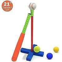 CELEMOON [Kids T-Ball Set Juguete] Kids espuma T-Ball/béisbol juego juguete, 3bolas de diferentes tamaños, Carry/organizar bolsa incluido, para niños de más de 3años de edad