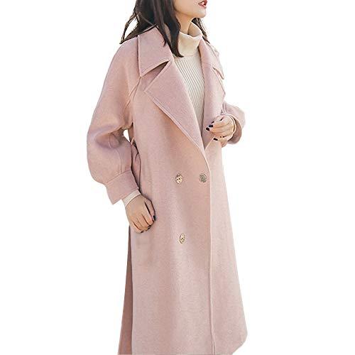 Womens Revers Wollmantel Trench Jacket Mantel Outwear Damen -