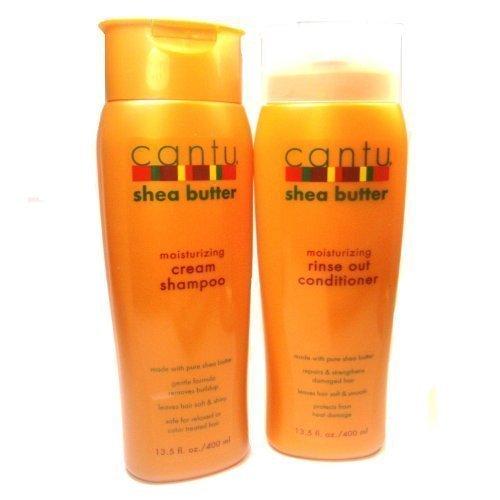 Cantu Moisturizing Cream Shampoo 13.5 oz & Moisturizing Rinse Out Conditioner 13.5 oz by Cantu -