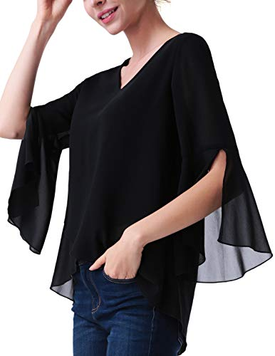 ANGGREK Mujer Camisa Elegante Cuello V 3/4 Manga Blusa