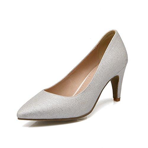 balamasa Mesdames talon Fashion cone-shape pointed-toe imitation cuir pumps-shoes silver