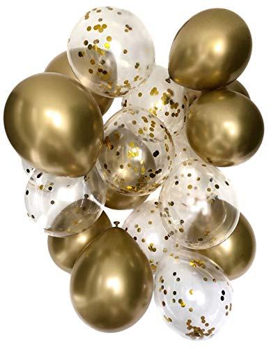 Cavore Konfetti Luftballon Set in Gold metallic - 20 Stück - Partydeko Ballons für Baby-Shower, Hochzeit, Geburtstag