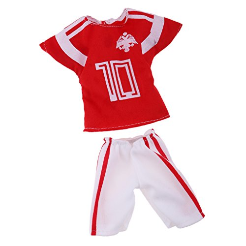 MagiDeal Puppen Kleidung Fußballspieler Freizeitkleidung - Hemd + Hosen Set - Bekleidung Für 32 cm Barbie Ken Puppe - # 4 (Trikot Kostüm Für Jungen)