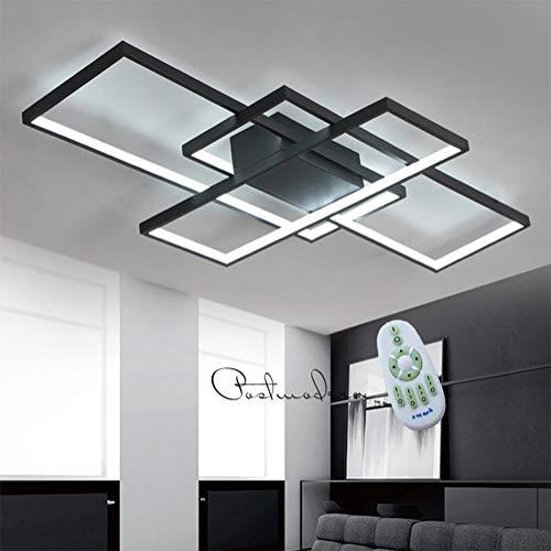 LED Deckenleuchte Dimmbar Wohnzimmerlampe Deckenlampe mit Fernbedienung Modern Acryl Lampenschirm Aluminium Design Leuchte für Schlafzimmerlampe Esszimmerlampe Küchelampe Büro Deko Lampe (schwarz)