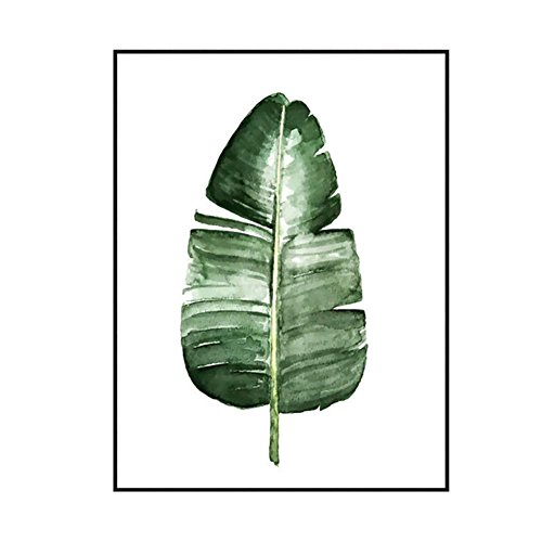 Nordic Green Plant Blatt Leinwand Kunst Poster Aquarell Wand Bilder Home Decor Green Plant Wall Picture (B, 30 x 40 cm) (Blatt-wand-kunst)