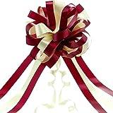 20 Pièces Grand Noeud de Ruban de Voiture de Couleurs Vives Boucles de Ruban pour Votre Cadeau Décoration, 20 cm (Vin Rouge et Blanc)