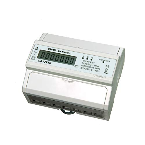 B+G E-Tech DRT728D - digitaler Stromzähler Drehstromzähler Wattmeter für DIN Hutschiene 3x20(80) A LCD S0