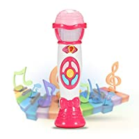ThinkMax Karaoke Microphone Toy, Voice Changing and Recording Microphone, Early Educational Music Toy for Kids and Children (Pink)