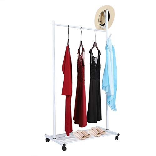 EBTOOLS 3 in 1 Kleiderständer Garderobenständer Kleiderstange auf Rollen mit Schuhablage und Kleiderhaken Bewegliche Garderobenwagen Rollkleiderständer Kleiderwagen, weiß 80 * 45 * 160 cm