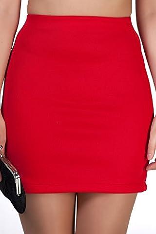 Marc Olivier Sexy Figurbetonter Minirock – Toll für Büro, Freizeit oder Party - 4 schlichte Farben; Schwarz, Elfenbein, Blau und Rot, in den Größen 36, 38 40, 42