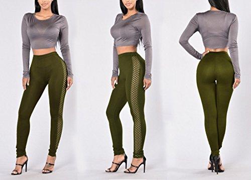 QIYUN.Z Femmes Mode Solides Couleur Latérale Grille Maigre Pantalon Leggings Haute Taille Vert