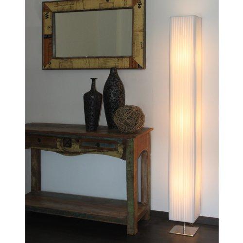 Steh-Lampe weiß mit verchromten Standfuß Höhe 170 cm eckig | Sirap | Design Steh-Leuchte mit Plissee Schirm aus pflegeleichtem Latex | Stand-Leuchte für Wohnzimmer 170cm (Stand Lampenschirm)