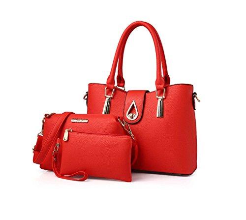 Borsa delle signore tre insiemi delle borse borsa del raccoglitore borsa del sacchetto di sei colori PU opzionale Rose Red