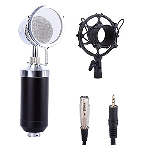 CAHAYA Condenser Microphone Cardioid Studio Microphone with Shock Mount Audio Cable for Radio Broadcasting Recording