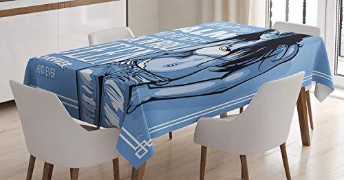 ABAKUHAUS Feminin Tischdecke, Rock n Roll Königin Zitat, Für den Inn und Outdoor Bereich geeignet Waschbar Druck Klar Kein Verblassen, 140 x 170 cm, Blau (Tischdecke Roll Blaue)