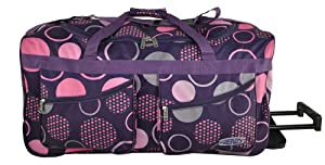5 Cities 27 Wheeled Holdall Trolley Bag Only 26kg And 78l Capacity Purple Circles
