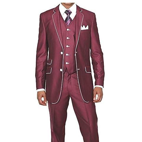 MYS Men's Custom Made Slim Fit Wool Feel Two Button Tuxedo Suit Pants Vest Set Maroon Size 44R