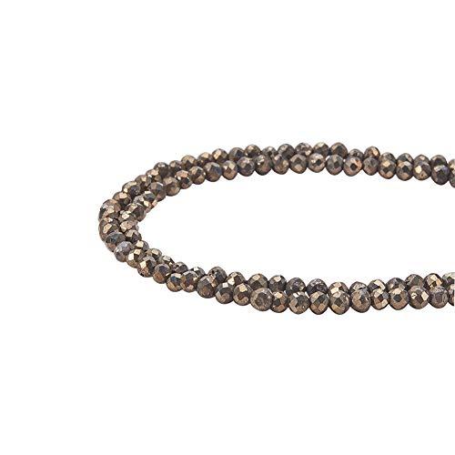 Pandahall elite circa 350 pz perline di pirite naturale sfaccettate rotondo per gioielli fai da te, 2mm, foro: 0,5 mm