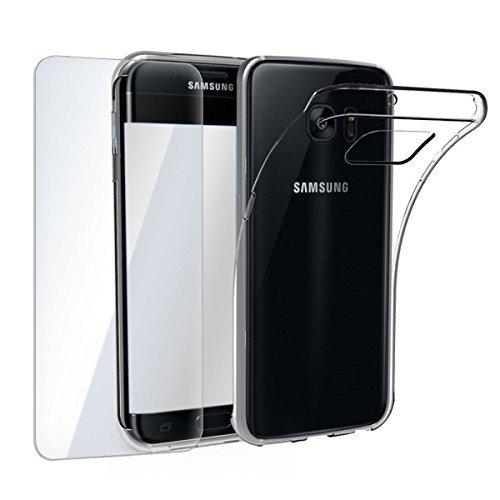 finoo | Samsung Galaxy S5 Mini Weiche flexible Silikon-Handy-Hülle + Panzerglas | Transparente TPU Cover Schale mit Panzerfolie | Schutzfolie Displayschutz und durchsichtige Schutzhülle | (Samsung Galaxy S5 Mini)