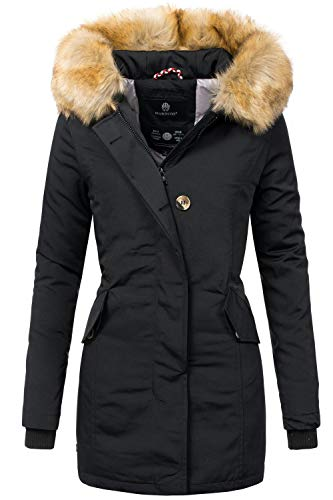 Marikoo Damen Winter Mantel Winterparka Karmaa Schwarz Gr. XXL Lange Damen Winter Mäntel