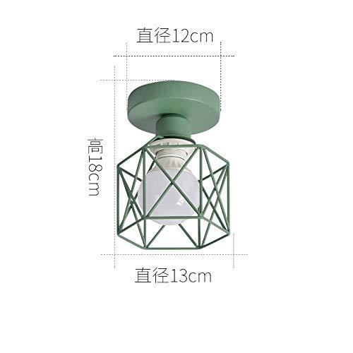 Lámpara de techo B base verde oscuro + pantalla verde oscuro con bombilla led de 7 vatios de dos colores
