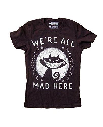 Akumu Ink - Damen T-Shirt - Alice im Wunderland We´re all Mad Here (Schwarz) (S-XL) ()