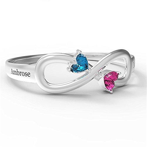 ASD Juwerly Personalisierter Infinity Ring für Ihre Freundschaft Geschenk Liebes-Symbol Verlobungsringe Geburtssteine Versprechen Ringe für Sie (Gold 3)