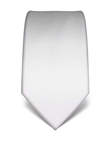 Vincenzo Boretti Herren Krawatte reine Seide Ton in Ton gestreift edel Männer-Design zum Hemd mit Anzug für Business Hochzeit 8 cm schmal/breit weiß