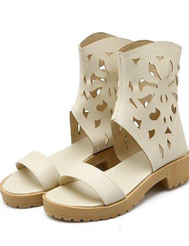 ShangYi Mode Damenschuhe Sommer Mode Stiefel / Open Toe Kunstleder Kleid / Casual Ferse Reißverschluss / Hohlwelle, Gelb/Beige Schwarz