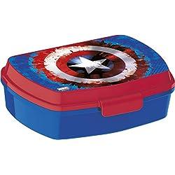ALMACENESADAN 2042 Sandwichera Restangular Capitan America Icono; Producto de plástico; Libre BPA; Dimensiones Interiores 16,5x11,5x5,5 cm