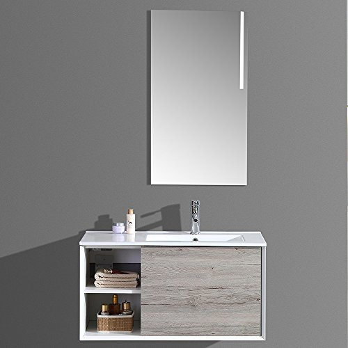 interougehome Meuble de Salle de Bain Simple Vasque avec Miroir LED – Gris