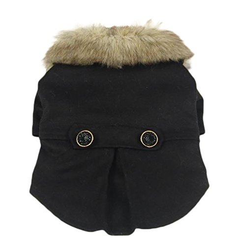 YiJee Hundemantel Wintermantel Hundejacke mit Faux Pelzkragen Hundekleidung Schwarz 3XL
