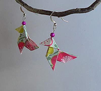 Boucles d'oreilles Origami Cocottes Papier Japonais.