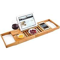 Bambus Badewannenablage Caddy Tablett (erweiterbar) Luxus Spa Organizer mit ausziehbaren Seiten   Natürliches, umweltfreundliches Holz   Integrierte Halterung für Tablet, Smartphone, Wein, Buch