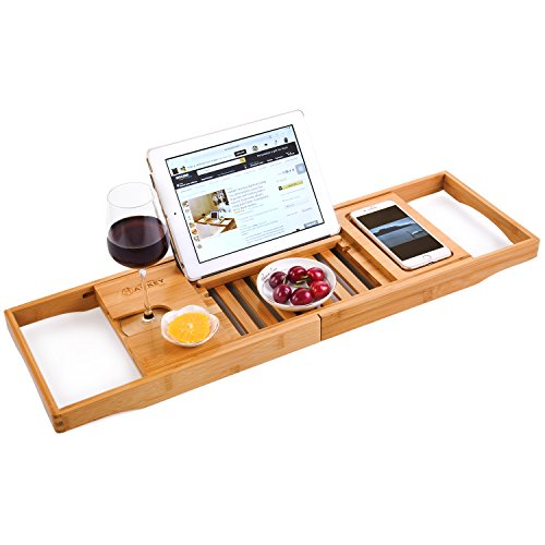 Price comparison product image Bamboo Bathtub Caddy Tray Extendable Luxury Spa Organizer with Folding Sides / Natural,  Ecofriendly Wood / Integrated Tablet,  Smartphone,  Wine,  Book Holders (BASIC)
