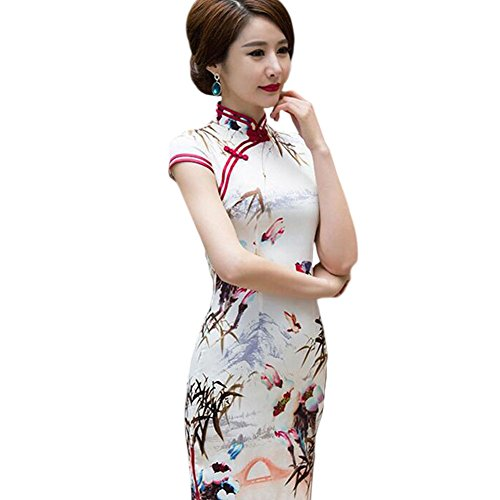 Meijunter Élégant Femmes Retro Chinois Style Soie Court Cheongsam Floral Imprimé Slim Qipao Tenue de soirée 08#