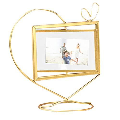 Masrin Geometrischer Goldmetallfotorahmen-Foto-Speicher-drehender Foto-Rahmen (Gold) -