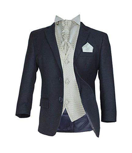 SIRRI Jungen 5 TEILE Formell Hochzeit Anzüge, Elfenbein Krawatte Abiball Seite Jungen Anzug - Marineblau & Creme, 110
