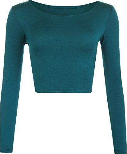 WearAll - Neu Damen Cropped Langarm T Shirt Kurz Schmucklos Rundhalsausschnitt Top - Teal - 40 / 42 (Saison-langarm-top)