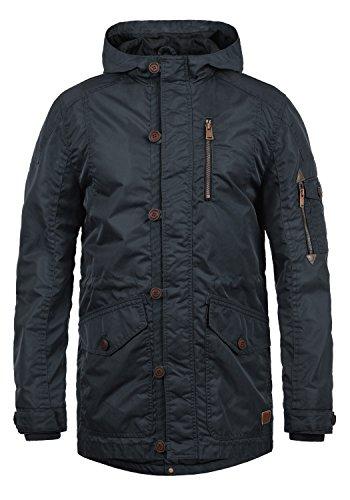 Blend Luxus Herren Übergangsparka Parka Mantel Lange Jacke Mit Kapuze, Größe:L, Farbe:Navy (70230)