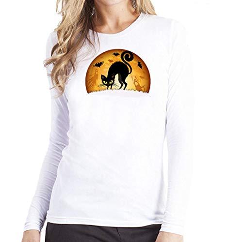 VEMOW Herbst Heißer Elegante Damen Frauen Plus Größe Druck Tees Shirt Langarm Casual Täglich Praty Sport T-Shirt Bluse(X1-Weiß, EU-42/CN-M)